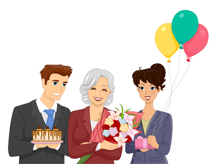 office party: Illustration of Office Workers Throwing a Retirement Party for Their Elderly Co Worker