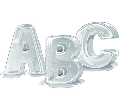 ice alphabet: Illustration of Letters of the Alphabet Carved Out from Ice