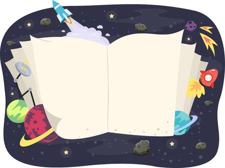 開かれた本のイラストは、天文学に囲まれた関連商品