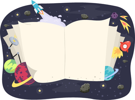Illustration of an Open Book Framed by Astronomy Related Items