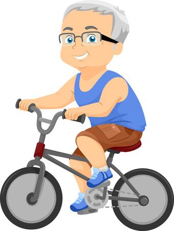 bicyclette: Illustration d'un vieil homme sur son vélo