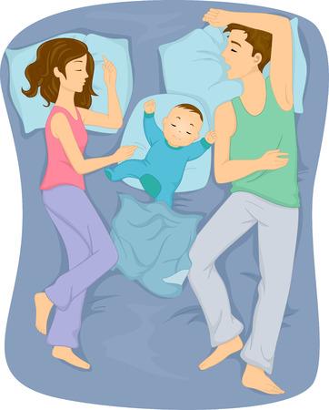 함께 침대에서 잠자는 가족의 그림 스톡 콘텐츠