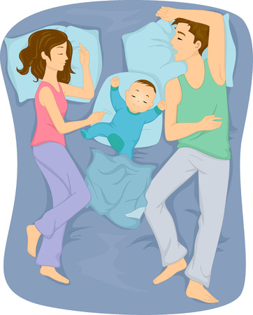 Illustration of a Family Sleeping Together in the Bed