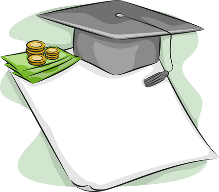 loan: Illustration of a Graduation Cap Sitting on Top of a Loan Contract