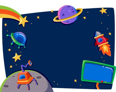 우주에서 행성을 갖춘 프레임의 그림