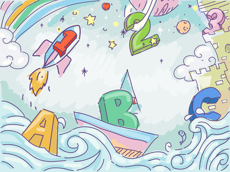 clip art numbers: Illustration of Numbers and Letters in Outer Space Stock Photo