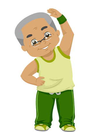age old: Illustration of an Elderly Man Bending His Neck While Exercising Stock Photo