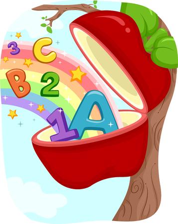 manzana caricatura: Ilustración de una manzana con los números y las letras que hace estallar de Ella Foto de archivo