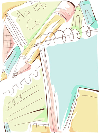 reading materials: Background Illustration of a Notepad Scribbled with Letters and Numbers Stock Photo