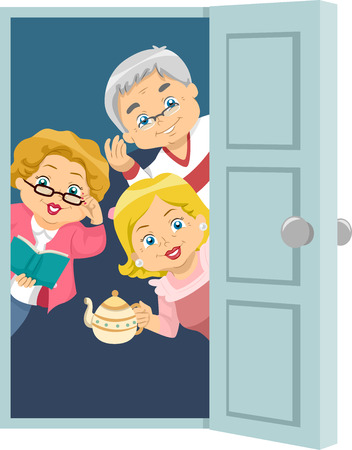 seniors: Illustration of Seniors Welcoming Guests to a House Party Stock Photo