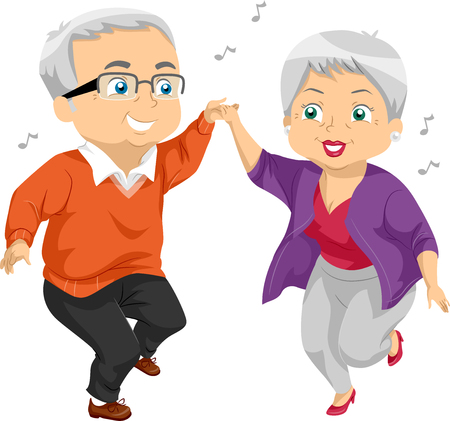 cartoon party: Illustration of an Elderly Couple Dancing at a Party Stock Photo
