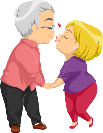 smack: Illustration of an Elderly Couple Sharing a Kiss