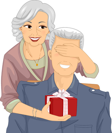 mature: Illustration of an Elderly Woman Surprising an Elderly Man with a Gift Stock Photo
