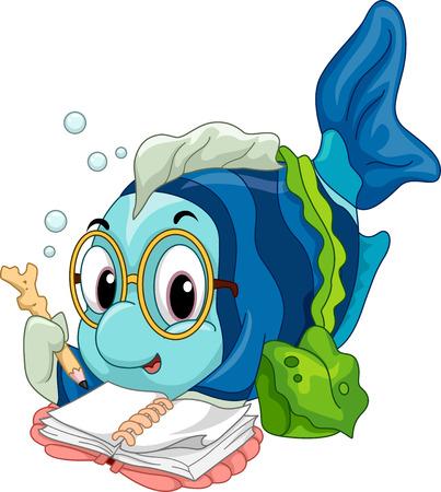 niño preescolar: Ilustración de un geek Fish lectura ansiosamente un libro