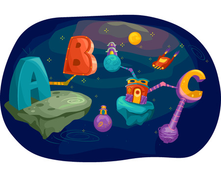 educational: Illustration of Letters of the Alphabet Converging in Outer Space Stock Photo
