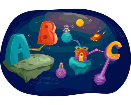 educativo: Ilustración de letras del alfabeto convergente en el espacio ultraterrestre