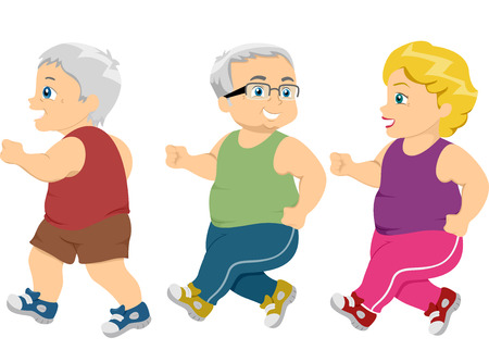age old: Illustration of Male Senior Citizens Going for a Jog
