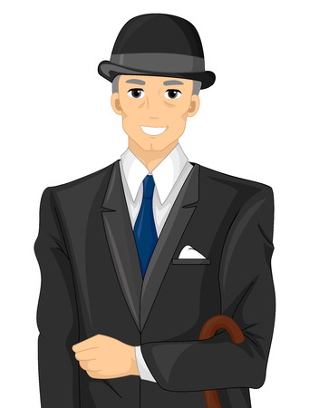 formal attire: Illustration of an Englishman Wearing Formal Attire Stock Photo