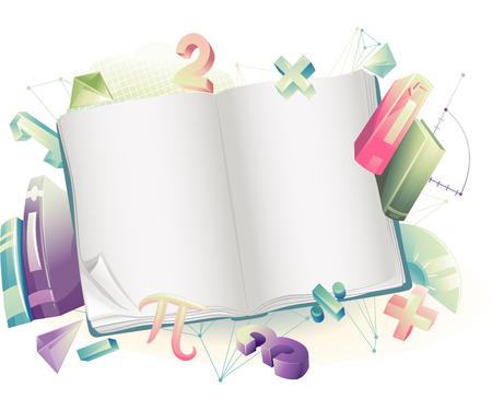simbolos matematicos: Antecedentes ilustración de un libro abierto rodeado de símbolos matemáticos