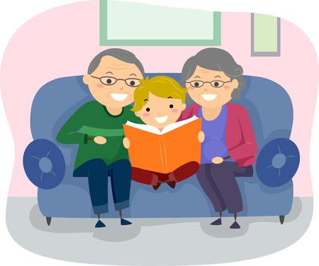 lectura: Stickman Ilustración de un par de abuelos que leen un libro a su nieto