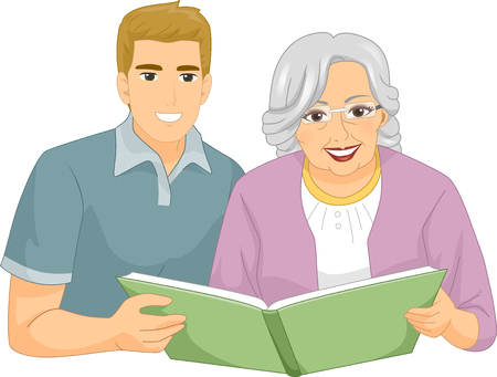 elderly care: Illustration of a Caregiver Helping an Elderly Woman to Read a Book