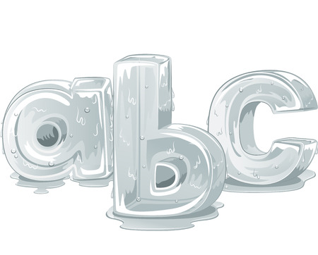 lower case: Illustration of Lower Case Letters of the Alphabet Carved Out from Ice