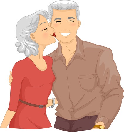 cheek: Illustration of an Elderly Woman Kissing the Cheek of an Elderly Man