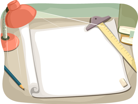 table top: Illustration of a Study Table with Drafting Tools on Top Stock Photo