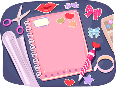 decorate notebook: Background Illustration of a Notebook Being Personalized