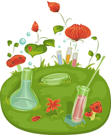 clip art: Background Illustration of Laboratory Tools Surrounded by Plants