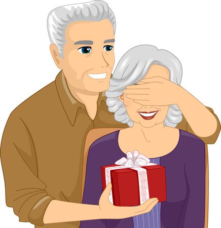 mature men: Illustration of an Elderly Man Surprising an Elderly Woman with a Gift