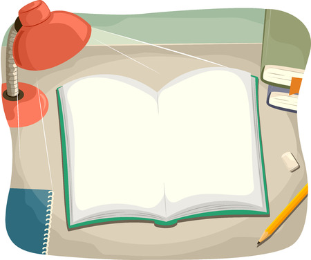 study: Ilustración de una mesa de estudio con un libro abierto en tapa