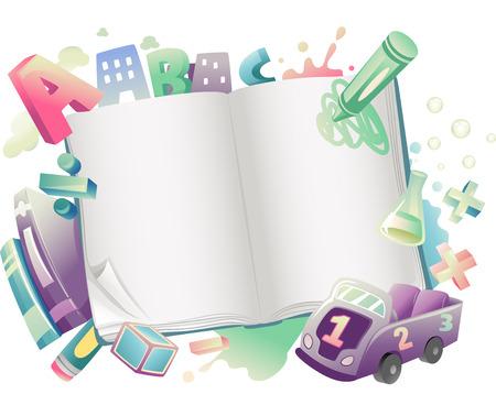educativo: Ilustración de un libro abierto rodeado de Suministros de la Escuela