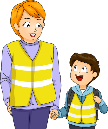 cartoon bus: Illustration of a Mother Taking Her Kid on a Walking Bus Trip