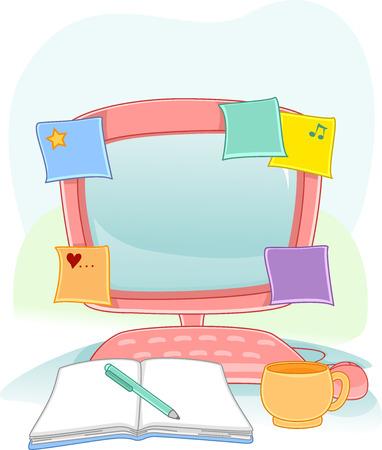 hacer: Ilustración de un monitor de ordenador con Sticky Notes ajustarse a él