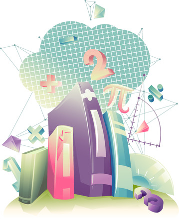 Illustration of Books Surrounded by Mathematical Symbols
