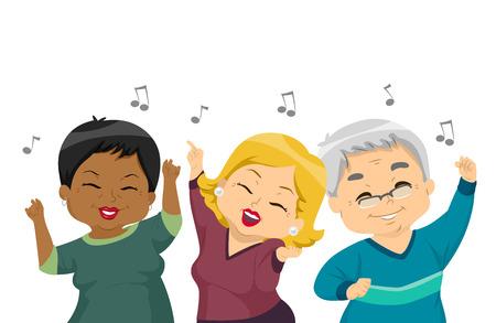 señora mayor: Ilustración de las mujeres mayores bailando en una fiesta