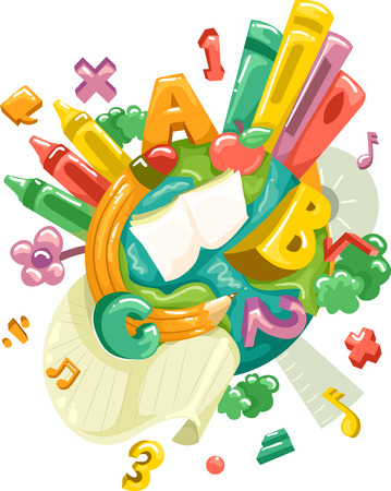 numbers clipart: Illustration of the Earth with Letters and Numbers Surrounding It Stock Photo