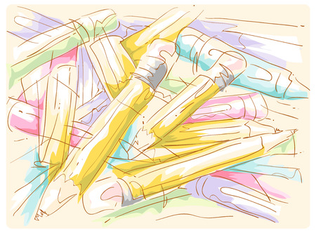 wispy: Colorful Illustration of a Pile of Pencils Lying Around Stock Photo