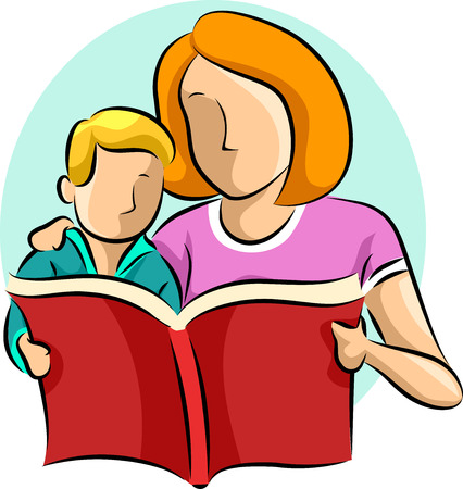 bonding: Illustration of a Mother Reading a Book to Her Son