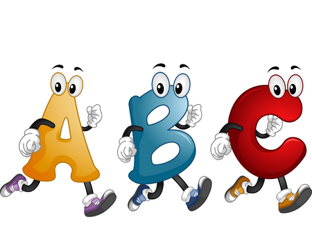 alphabets: Illustration of Alphabet Mascots Running Around