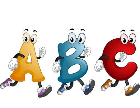 cartoonize: Illustration of Alphabet Mascots Running Around