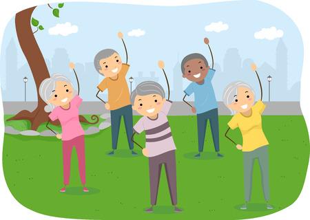 bonhomme allumette: Illustration Stickman des personnes âgées Exercice dans le parc