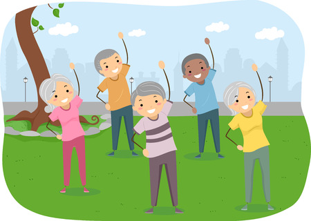 exercise cartoon: Stickman Illustration of Senior Citizens Exercising in the Park Stock Photo