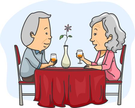 hombres maduros: Ilustración de una pareja de ancianos de salida en una cita romántica Foto de archivo
