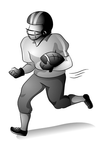 footballer: Grayscale Illustration of a Footballer Player Running with the Ball