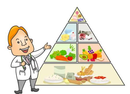 piramide alimenticia: Ilustraci�n de un doctor de sexo masculino Hacer una Conferencia sobre la Pir�mide de Alimentos