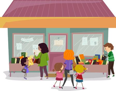 bonhomme allumette: Illustration Stickman des familles V�rification livres dans une vente de livres