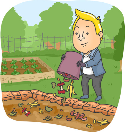 compost: Illustration of a Man Dumping Food Scraps on His Compost Pit Stock Photo