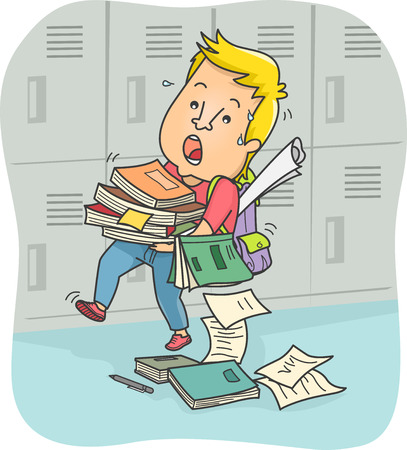 Illustration of a Male Teenager Struggling to Carry a Stack of Books Stock Photo